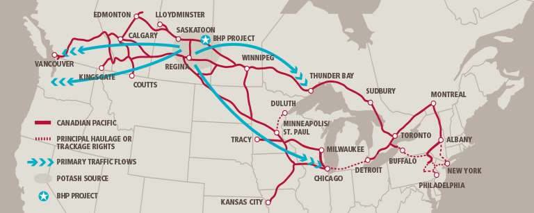 Fertilizer and Potash rail shipping routes from potash mines in Saskatchewan to East and West coast port facilities